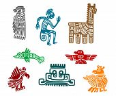 stock photo of hieroglyphic symbol  - Aztec and maya ancient drawing art isolated on white background - JPG