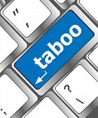 image of taboo  - keyboard computer keys with word taboo button - JPG