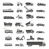 image of railroad car  - Modern and retro transport silhouettes collection isolated on white - JPG