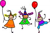 stock photo of happy birthday  - Three happy little kids wearing party hats and holding balloons - JPG
