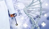 Human hand with stethoscope against media background with dna illustration