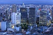 image of unique landscape  - Downtown Sao Paulo in the night time - JPG