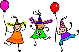 picture of happy birthday  - Three happy little kids wearing party hats and holding balloons - JPG