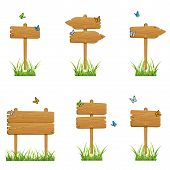 stock photo of stick-bugs  - Set of wooden signs in a grass with butterflies isolated on white background - JPG