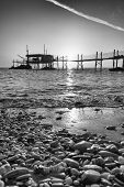 stock photo of promontory  - The Trabocchi coast in the province of Teatino - JPG