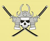 image of shogun  - monochrome skull illustration - JPG
