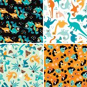 picture of dinosaur  - Seamless baby Dinosaur kids animal illustration background pattern in vector - JPG