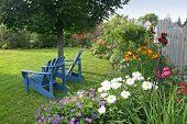 stock photo of lawn chair  - Lawn chairs in the backyard garden - JPG
