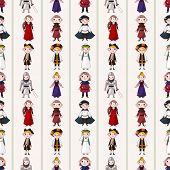 stock photo of wench  - Seamless Medieval People Pattern - JPG