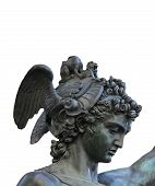 stock photo of perseus  - detail of statue of Perseus holding the head of Medusa on white background Florence Italy - JPG