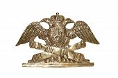 stock photo of artillery  - Old Russian metal military insignia - JPG