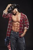 stock photo of cowboys  - Muscular male in a hat  on a gray background - JPG