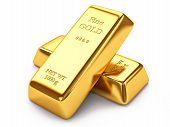 stock photo of bank vault  - Group of gold ingots isolated on white background - JPG