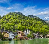 Austrian tourist destination Hallstatt village on  Hallst���¤tter See in Austrian alps. Sal poster