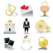stock photo of wedding feast  - Vintage Vector Design wedding icons for Web and Mobile - JPG