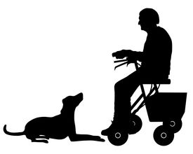 pic of rollator  - Detailed and accurate illustration of old woman with dog - JPG