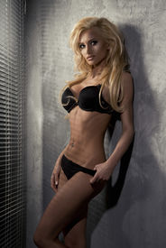 picture of latex woman  - young sexy blonde woman in black lingerie - JPG