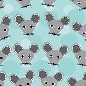 pic of cute animal face  - Mouse Seamless pattern with funny cute animal face on a blue background vector - JPG