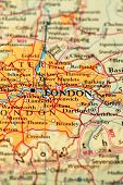 picture of atlas  - London on a printed   atlas world map - JPG