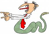 stock photo of serpent  - This illustration depicts a man with a tie and a serpents body and tongue pointing with both hands - JPG