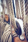stock photo of tall ship  - Close Up of Historical Ship Ropes and Rigging of Tall Ship - JPG