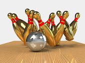 picture of striking  - Bowling Game Strike rot 3d abstract image - JPG
