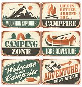 picture of boy scout  - Set of vintage outdoor camp signs and poster templates - JPG
