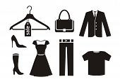 stock photo of jacket  - Clothes icon set in black color on white background - JPG