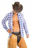 stock photo of button down shirt  - A cowboy looking down with his face hidden in his plaid shirt and chaps - JPG
