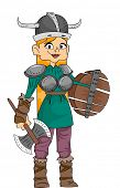 stock photo of viking  - Illustration Featuring a Woman Wearing a Viking Costume and Carrying Viking Weapons - JPG