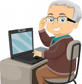 picture of geriatric  - Illustration Featuring an Elderly Male Using the Computer - JPG