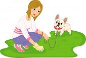 foto of dog poop  - Illustration Featuring a Woman Cleaning After Her Dog - JPG