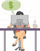 stock photo of telecommuting  - Illustration Featuring a Woman Earning Dollars From Her Online Job - JPG
