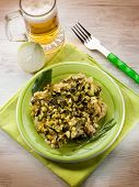 stock photo of sauteed  - chicken with sauteed zucchinis - JPG