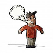 image of smoker  - cartoon man with smokers breath - JPG