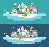 pic of xmas tree  - Flat Style Snowing Town Vector - JPG