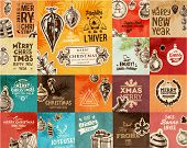 foto of christmas party  - Christmas Vector Vintage Cards Set - JPG