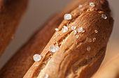 stock photo of crisps  - Salted tradirional crisp Italian breadsticks in basket - JPG