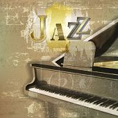 stock photo of grand piano  - abstract green sound grunge background with grand piano and word Jazz - JPG