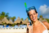 pic of mayan  - Happy woman on caribbean tropical travel and vacation wearing snorkel gear - JPG