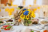 stock photo of wedding table decor  - gorgeous wedding decor on table with sunflowers - JPG