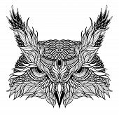 stock photo of owls  - psychedelic owl head tattoo - JPG