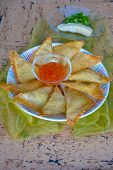foto of brie cheese  - Homemade brie cheese scallion fried pastry wonton wrappers - JPG