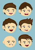 pic of jaw drop  - Set of six vector illustration of cartoon head icons in different hairstyle and facial expressions isolated on blue background - JPG