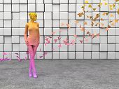 image of thigh highs  - pink young girl standing in front of cubes wall - JPG