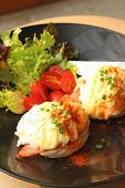 image of benediction  - Eggs Benedict vegetable eggs on a black plate - JPG