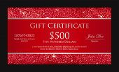 stock photo of exclusive  - Exclusive red gift certificate with borders composed from glitters - JPG
