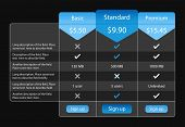 image of recommendation  - Light pricing table with 3 options and one recommended - JPG