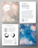 foto of moonlight  - Company report vector template illustrated with the heavens and constellations in sunshine and moonlight with editable text - JPG
