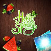 foto of memento  - Hello Spring vector card design with fresh berries - JPG